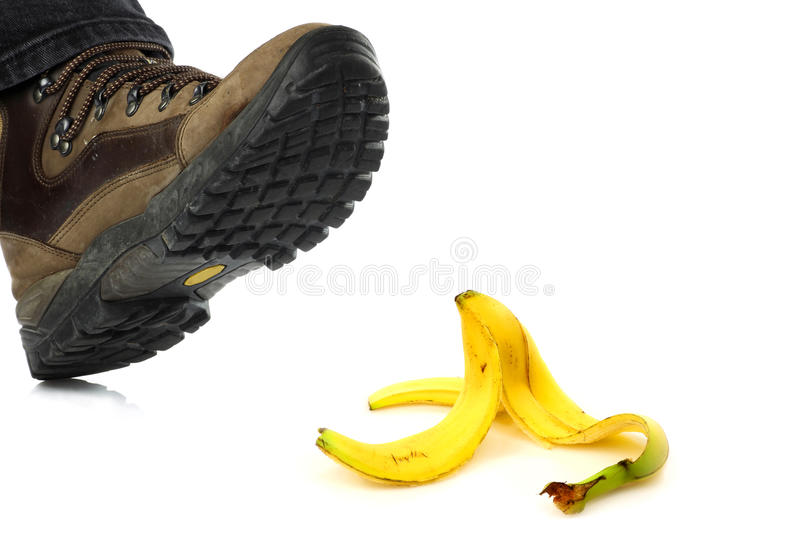 Imminent danger. Someone is bound to tread on a banana peel and fall royalty free stock photo