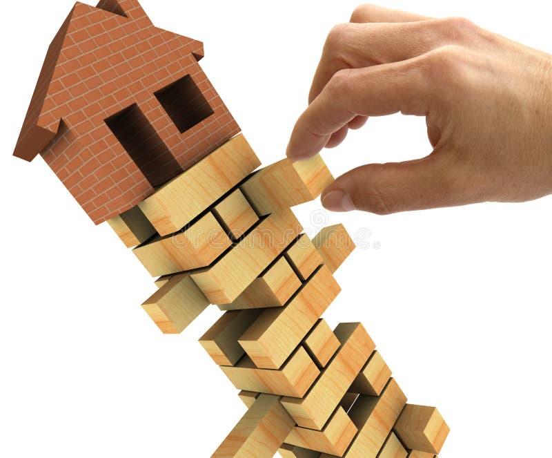Immobiliënmarktinstorting royalty-vrije illustratie