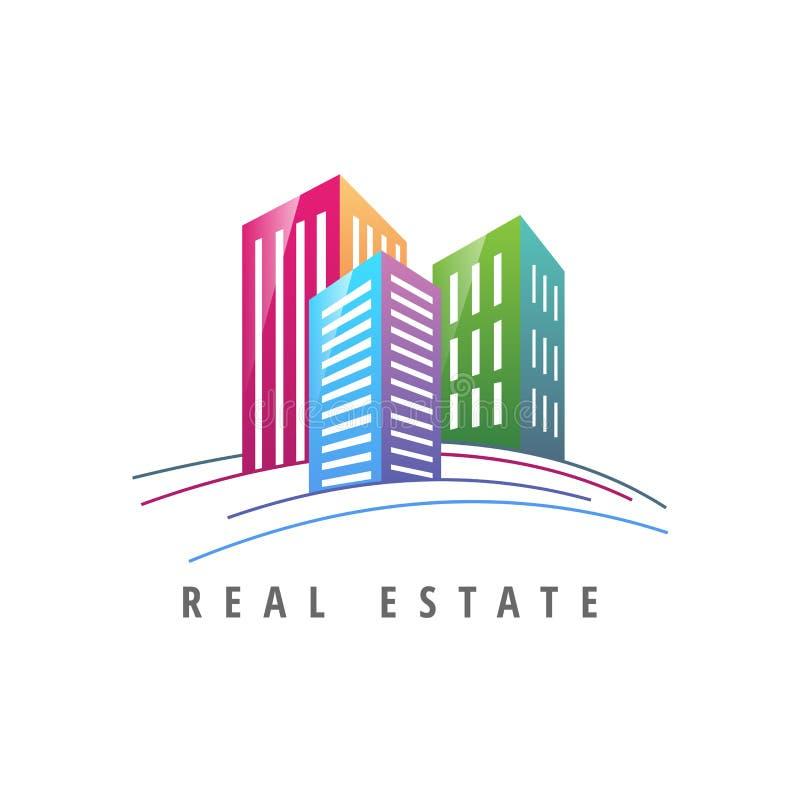 Immobilien der Logoschablone, Wohnung, Eigentumswohnung, Haus, Miete, Geschäft Marke, Branding, Firmenzeichen, Firma, Unternehmen stock abbildung