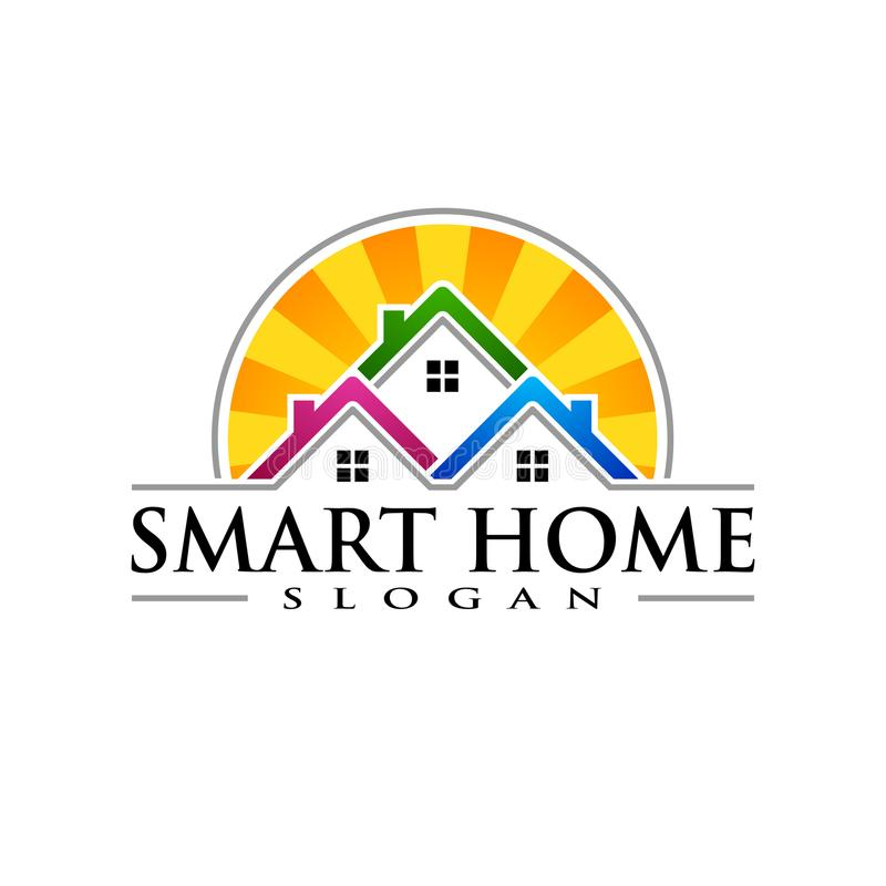 Immobilien Vektor Logo Design, abstraktes Gebäude und Haus mit Linie Form stellten einzigartiges, starkes und modernes Immobilien vektor abbildung
