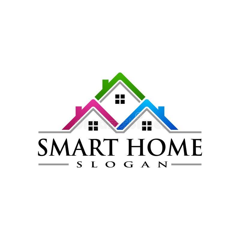 Immobilien Vektor Logo Design, abstraktes Gebäude und Haus mit Linie Form stellten einzigartiges, starkes und modernes Immobilien lizenzfreie abbildung