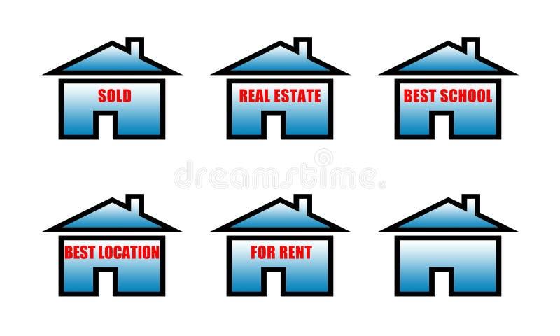 Immobilien verkauften, Immobilien, beste Schule, bester Standort, für Mietzeichen vektor abbildung