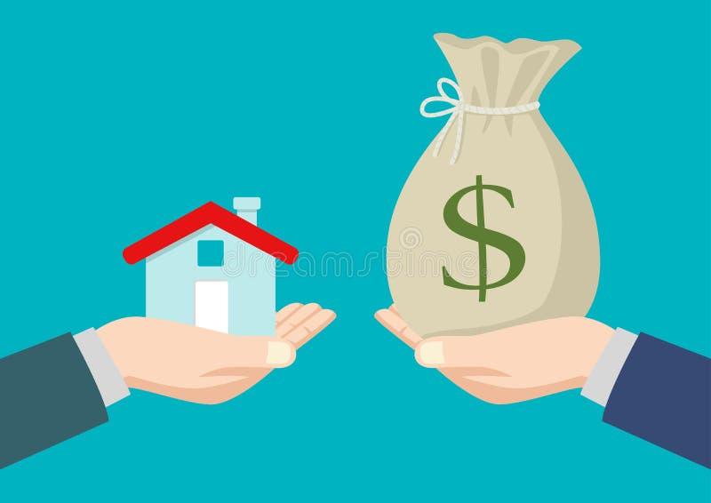 Immobilienagenturübergabe ein Haus zu einem Käufer lizenzfreie abbildung