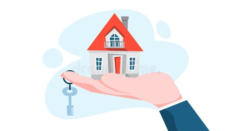 Immobilienagentur Concept Hausverkaufs-Angebot stock abbildung