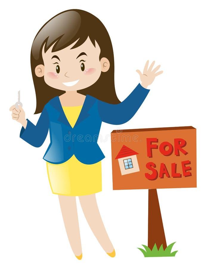 Immobilienagentur, die Hausschlüssel hält stock abbildung