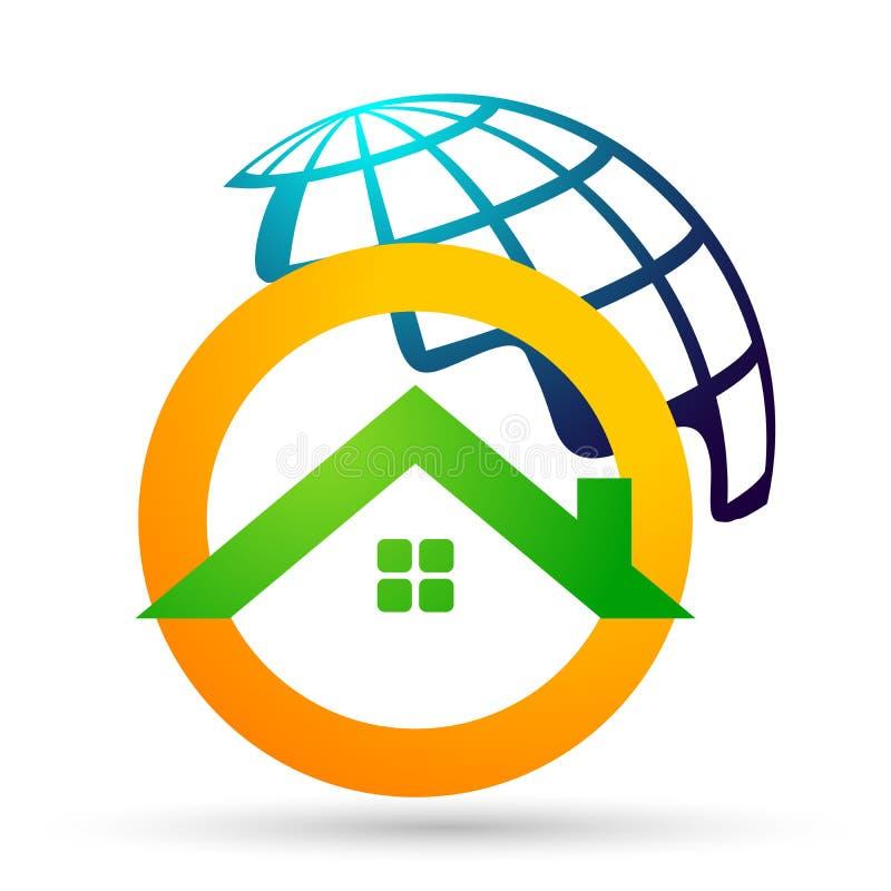 Immobiliendach der Zusammenfassungskugel und Hauptlogovektorelementikonenentwurfsvektor auf weißem Hintergrund lizenzfreie abbildung