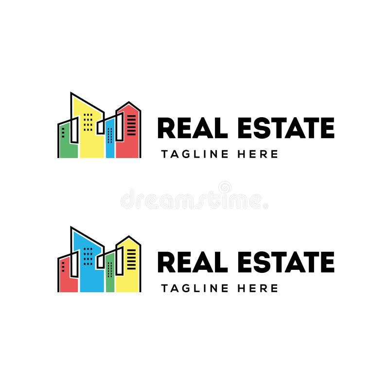 Immobiliengebäudelogodesign vektor abbildung