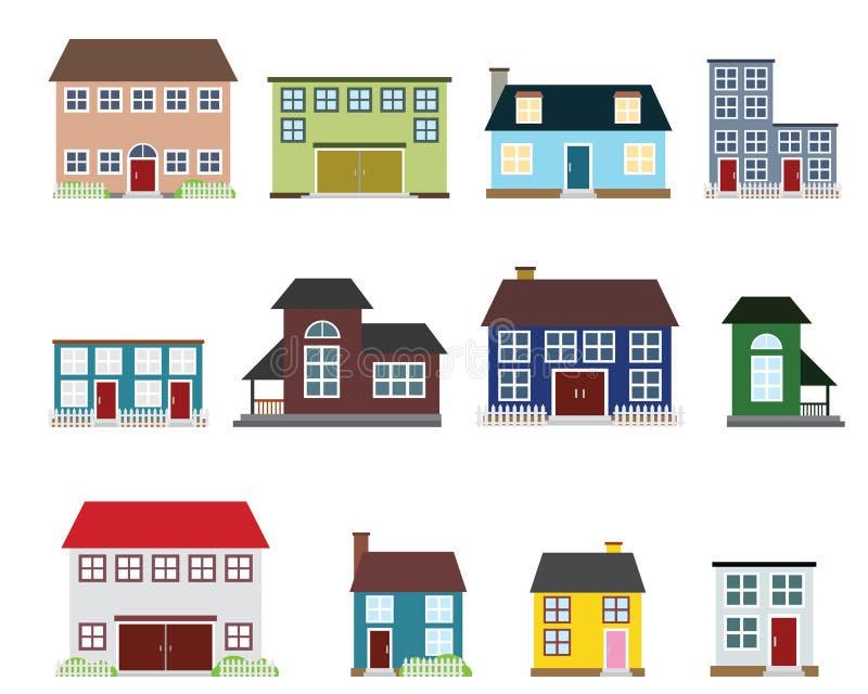 Immobilienikonen des Vektors lizenzfreie abbildung