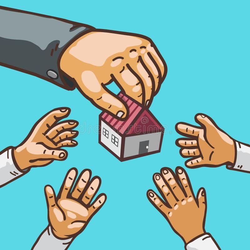 Immobilienkonzept übergibt das Geben und das Empfangen des Hauses lizenzfreie abbildung
