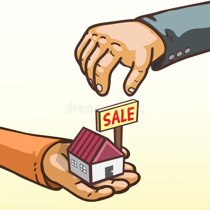 Immobilienkonzept übergibt das Geben und das Empfangen des Hauses zu verkaufen lizenzfreie abbildung