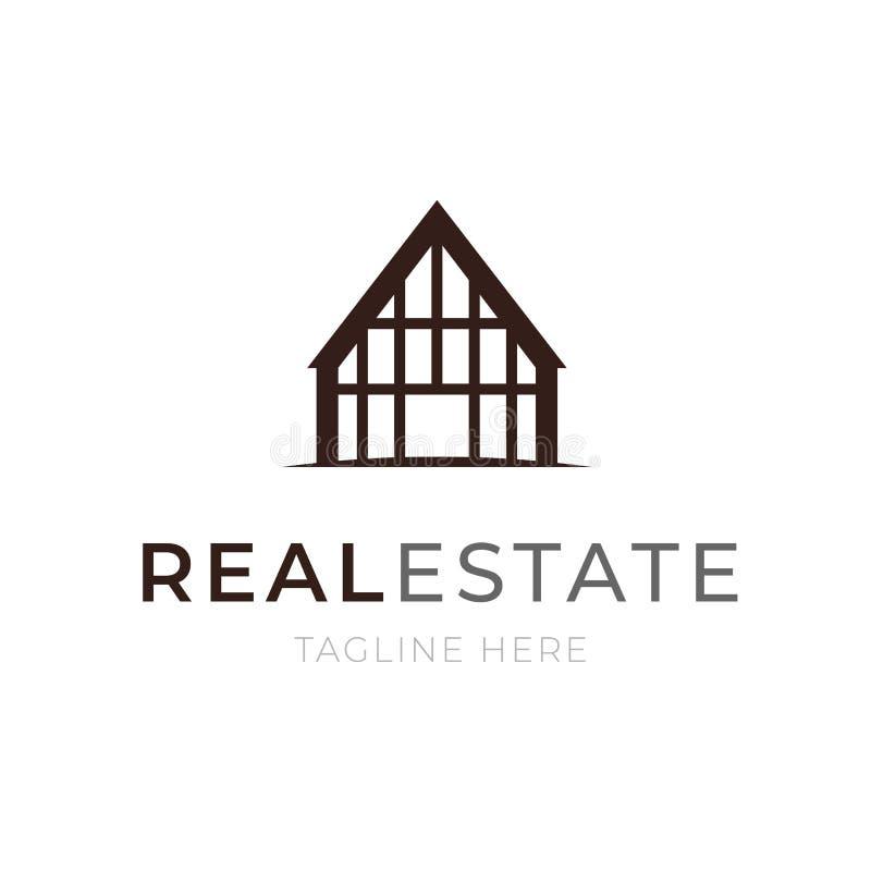 Immobilienkonzept der Logoschablone Wohnungs- oder Wohnungsbauikonenmietgeschäftsemblem Unternehmensbau lizenzfreie abbildung