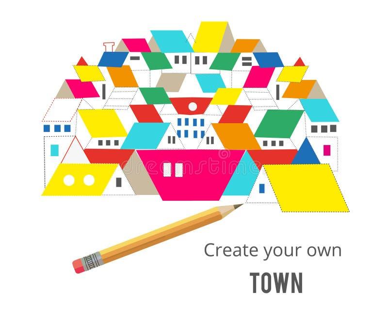 Immobilienkonzept - zeichnende Häuser und Bleistiftillustration, Vektor lizenzfreie abbildung