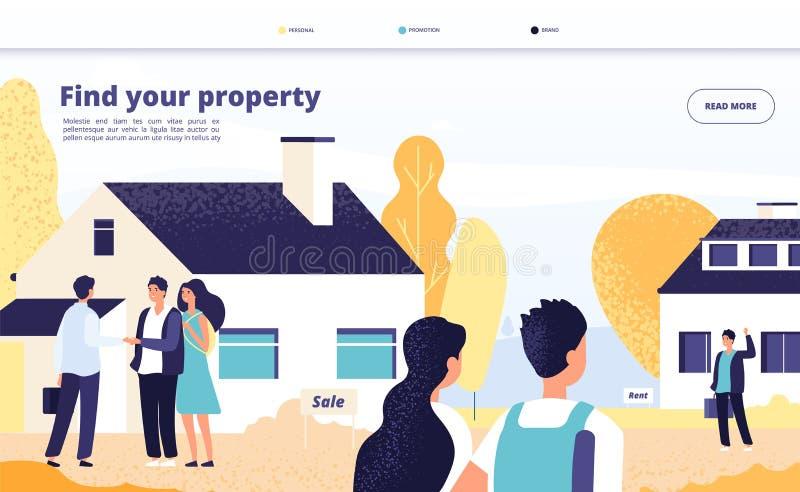 Immobilienlandung Leutemiete, Verkauf und Kaufeigentum Junge Paare mit Vermittler und Inhaber am Privathaus Vektor-Netz stock abbildung