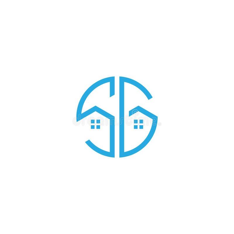 Immobilienlogoblaufarbe Anfangsbuchstabe SG einfaches modernes monoram lizenzfreie abbildung