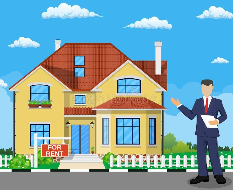 Immobilienmakler bei der Arbeit vektor abbildung