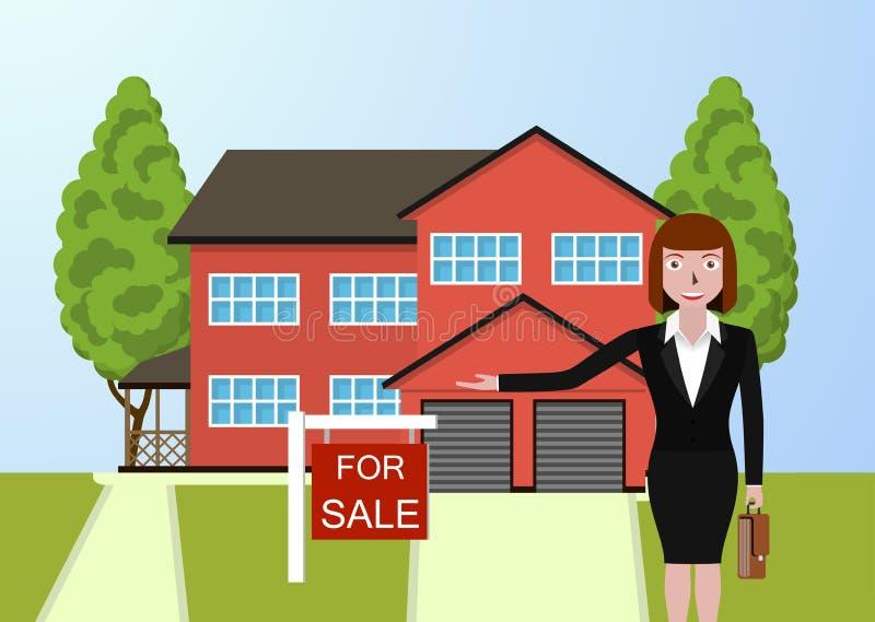 Immobilienmakler, Ferienhaus zu verkaufen vektor abbildung