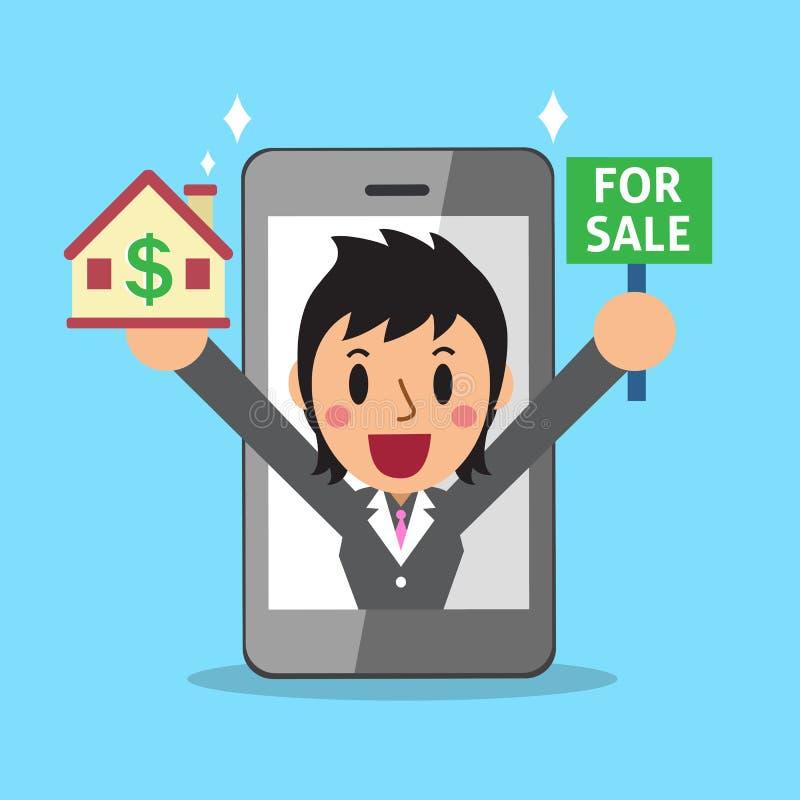 Immobilienmakler Mittel und Smartphone lizenzfreie abbildung