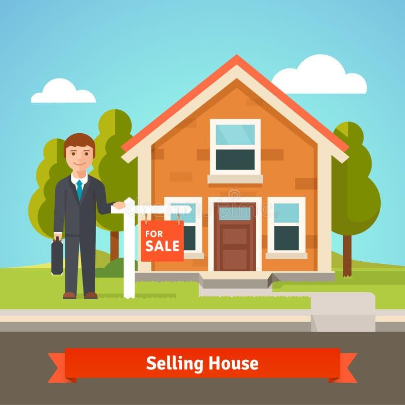Immobilienmakler und Haus mit für Verkaufszeichen stock abbildung