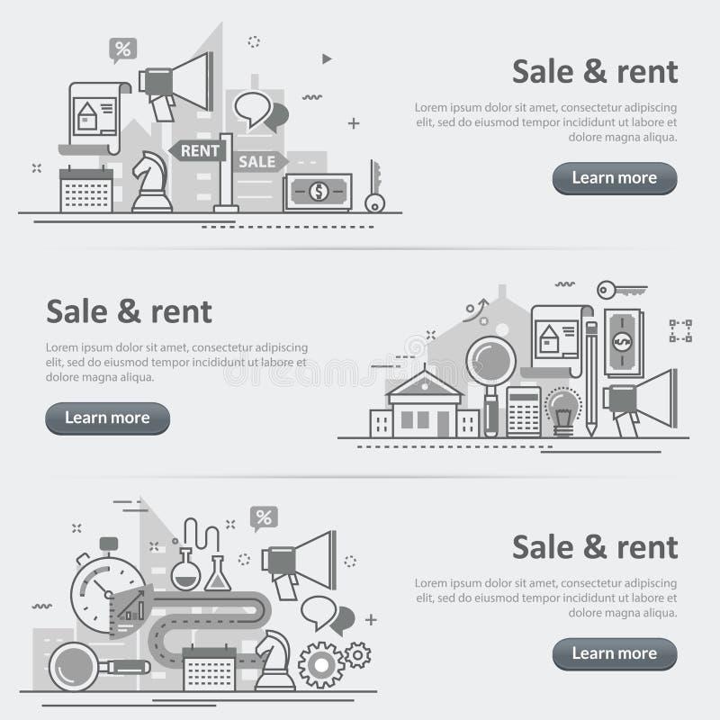 Immobiliennetzfahnensatz des Verkaufs und der Mietservice-Agentur stock abbildung