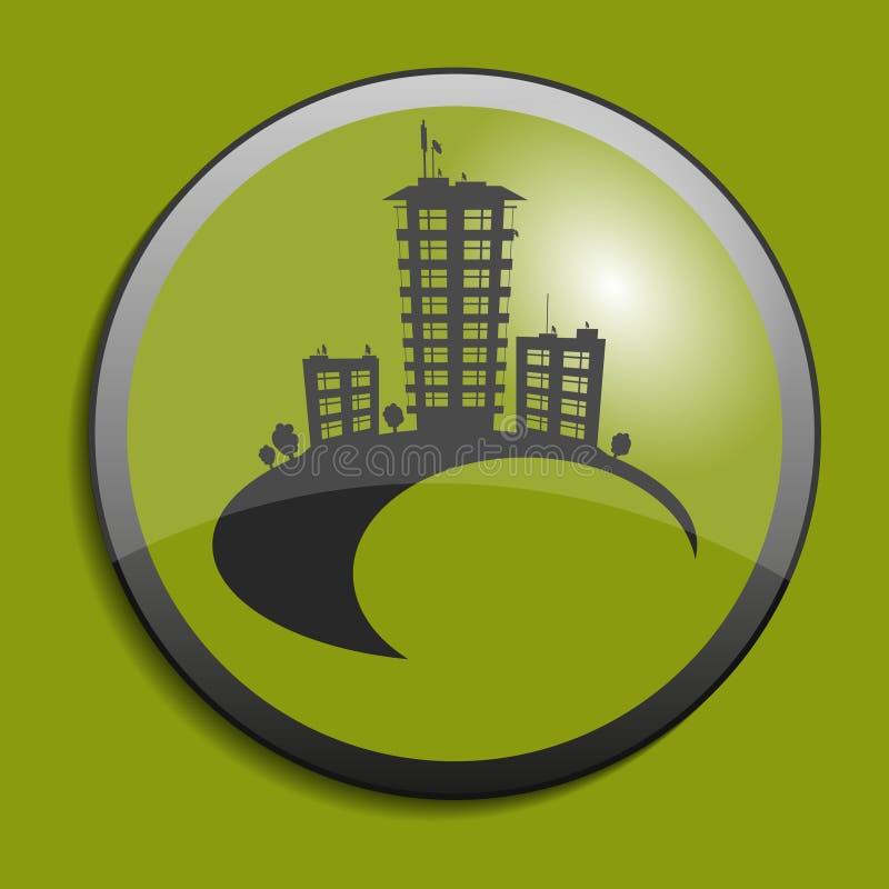 Immobiliensymbol auf Kreisknopf Vektor stock abbildung