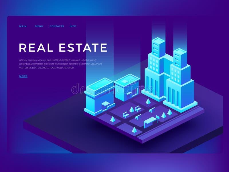 Immobilienwebsitedesign mit isometrischen Gebäuden 3d Intelligentes Stadttechnologievektorgeschäfts-Innovationskonzept stock abbildung