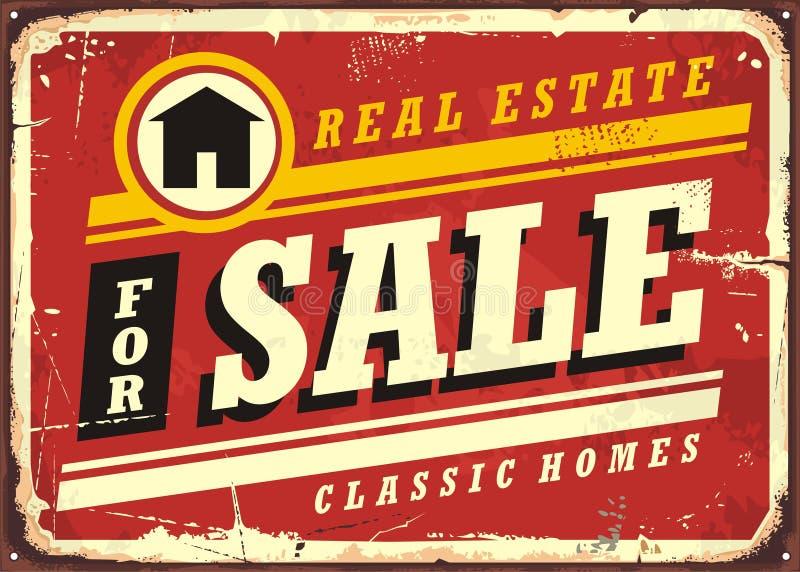 Immobiliers à vendre la rétro disposition de conception de signe de bidon illustration libre de droits
