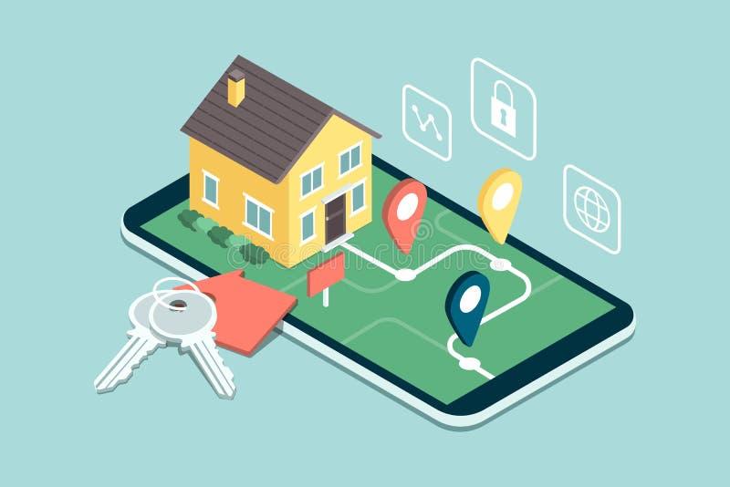 Immobiliers APP mobile illustration de vecteur