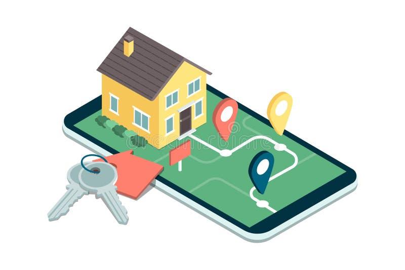 Immobiliers APP mobile illustration libre de droits