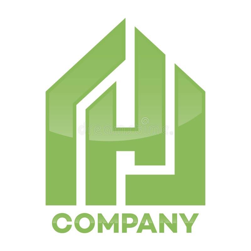 Immobiliers et logo de lettre de H illustration stock