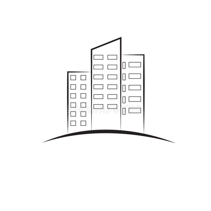 Immobiliers, le logo pour votre entreprise de construction illustration libre de droits