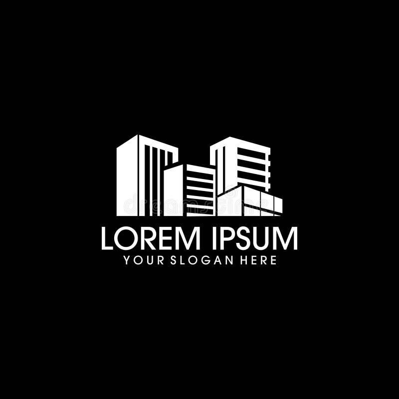 Immobiliers modernes avec le logo de ville illustration de vecteur