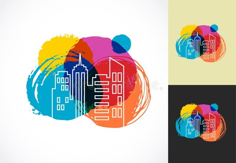 Immobiliers, ville et icône colorés d'horizon illustration de vecteur