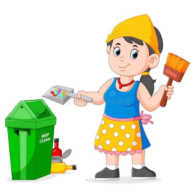 Immondizia della donna e spazzola di pulizia di tenuta al bidone della spazzatura illustrazione di stock