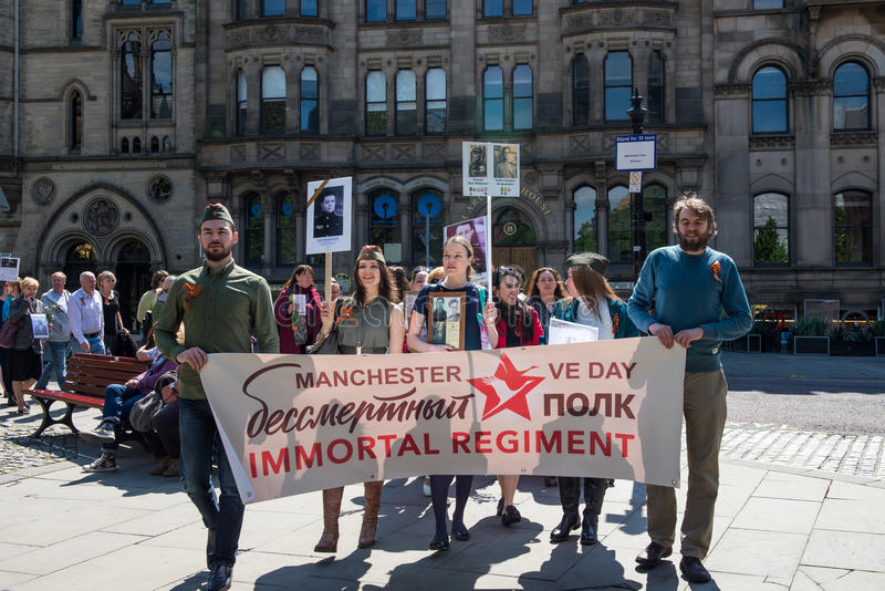 Immortal Regiment in Manchester, UK, in honour of Victory Day royalty free stock photography