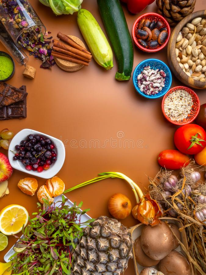 Immune boosting health super food selection background, healthy eating and immune system boost with natural vitamins stock image