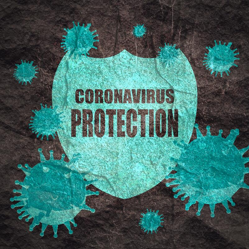 Immune protection system. Immune protection system relative image. Abstract viruses attack on shied with coronavirus protection text. Vaccination theme. Virus royalty free stock photos