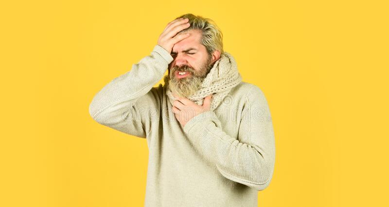 Immune response. Bearded man sick. Cold flu concept. Body temperature. Fever and thermal regulation of immunity. More. Than just symptom of illness. Headache royalty free stock images