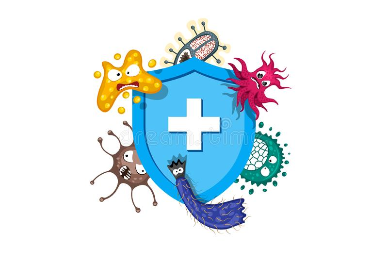 Immune system concept. Hygienic medical blue shield protecting from virus germs and bacteria. Flat vector illustration stock illustration