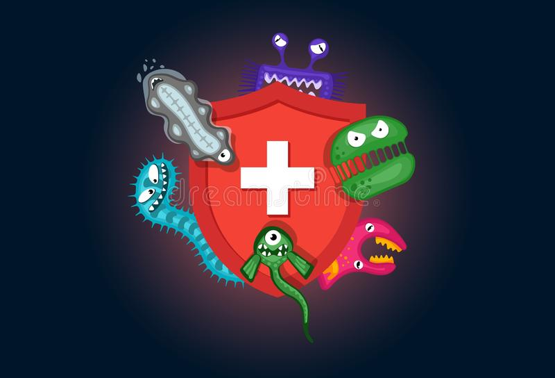 Immune system concept. Hygienic medical red shield protecting from virus germs and bacteria. Flat vector illustration on royalty free illustration