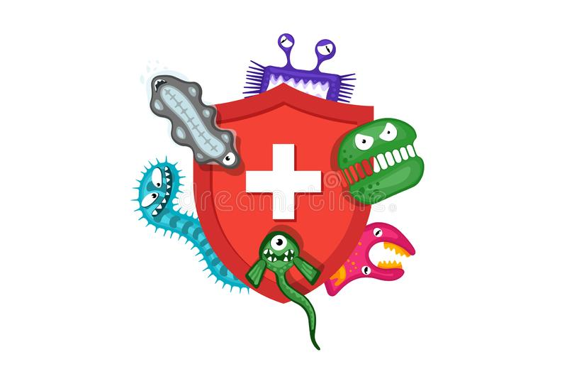 Immune system concept. Hygienic medical red shield protecting from virus germs and bacteria. Flat vector illustration on vector illustration