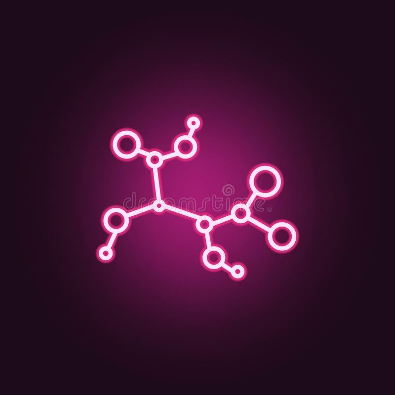 Immunisé, icône au néon probiotic d'intestin Éléments d'ensemble de probiotics E illustration de vecteur