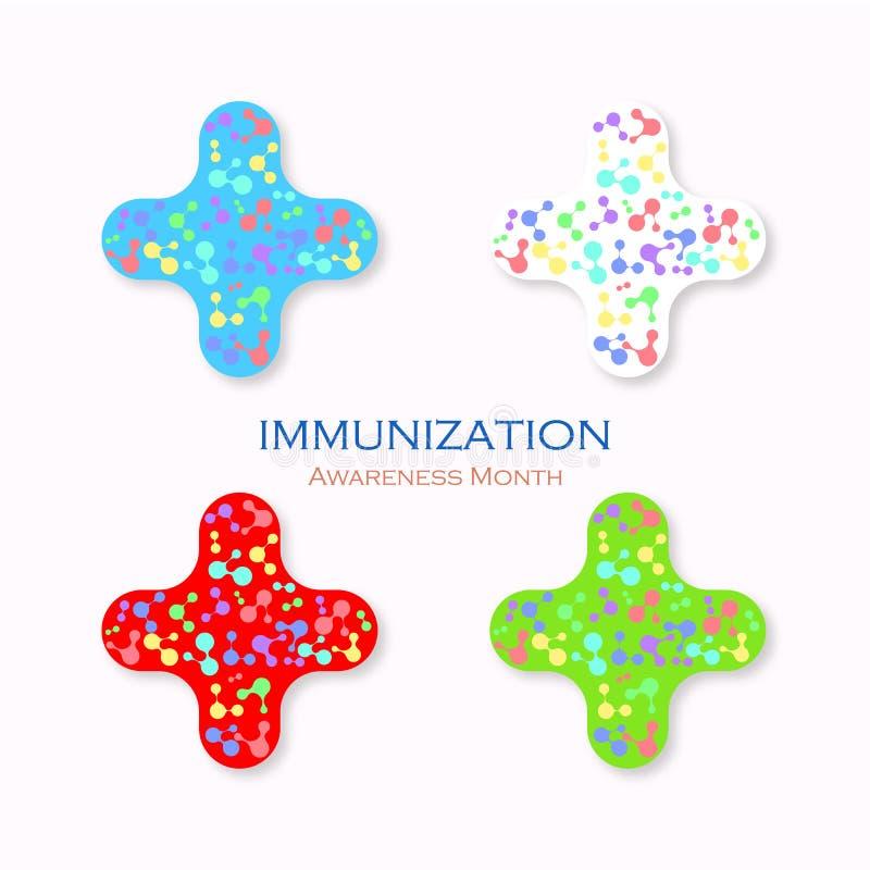 Immunisation d'icône Heure de vacciner Mois de conscience Illustration de vecteur illustration stock
