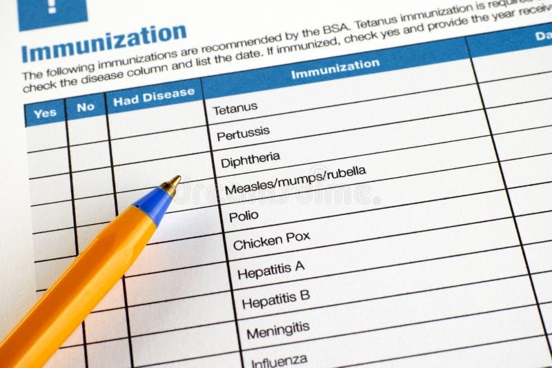 Immunisierungsanmeldeformular lizenzfreie stockfotografie
