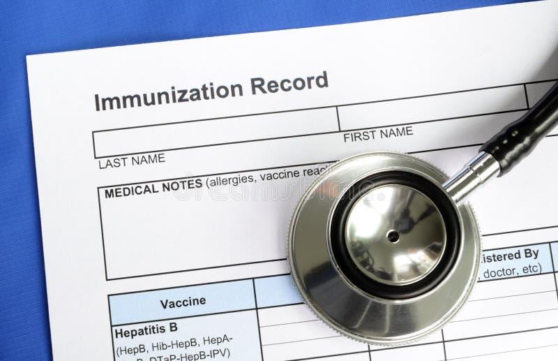 Immunizacja rejestr zdjęcia stock