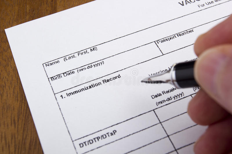 Immunization Record. Vaccination Documentation sheet filled when performing vaccinations stock photo