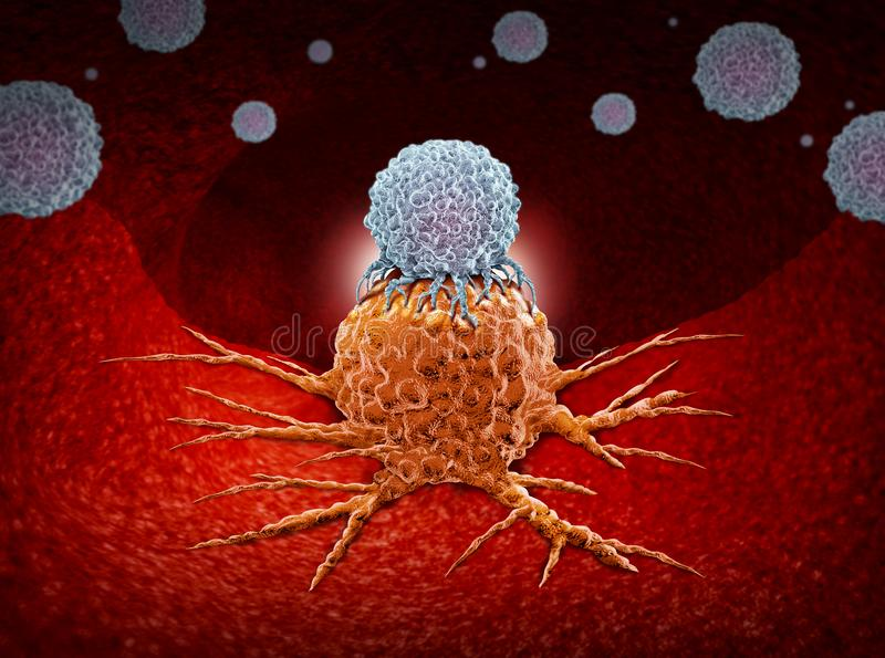Immunotherapy Human Immune Therapy. Immunotherapy as a human immune system therapy concept as a biomedical or biomedicine oncology treatment using the natural royalty free illustration