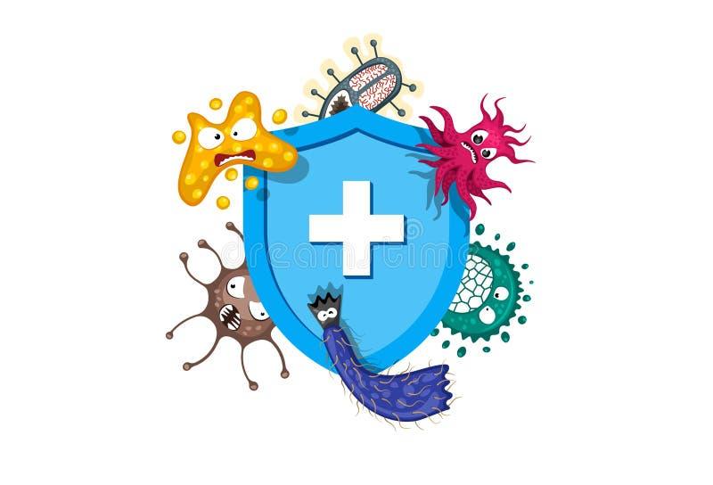 Immuunsysteemconcept Hygiënisch medisch blauw schild die tegen viruskiemen en bacteriën beschermen Vlakke vectorillustratie royalty-vrije stock foto