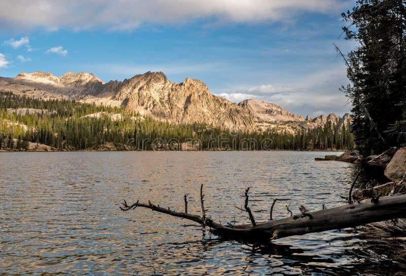 Imogene Lake Idaho morgonreflexion med journalen fotografering för bildbyråer