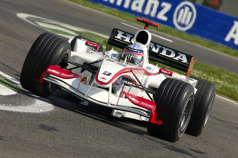 Imola, ΤΠ, τον Απρίλιο του 2006 - Takuma Sato τρέχει με έξοχο Aguri Honda F1 κατά τη διάρκεια GP του Άγιου Μαρίνου στοκ εικόνα με δικαίωμα ελεύθερης χρήσης
