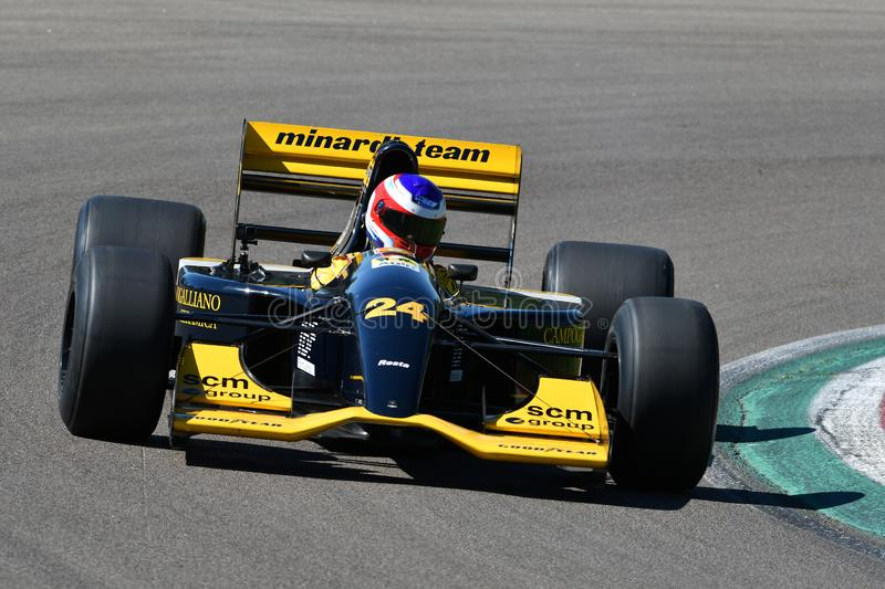 Imola, 27 April 2019: Historic Minardi F1 Model M192 driven by unknown in action during Minardi Historic Day 2019 stock photography